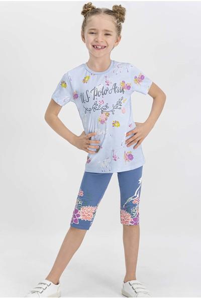 U.S. Polo Assn Lisanslı Açık Mavi Kız Çocuk Tayt Takım