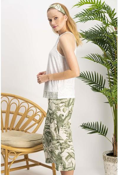Arnetta Amazon Tropical Ekru Kadın Homewear Kapri Takım