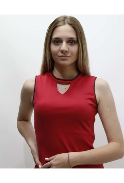 Ms Kırmızı Zincirli Mini Elbise M