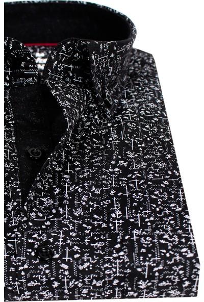 Varetta Klasik Kesim Desenli Siyah Erkek Gömlek