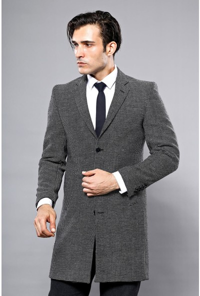 Wessi Ceket Yakalı Pötikare Desenli Palto