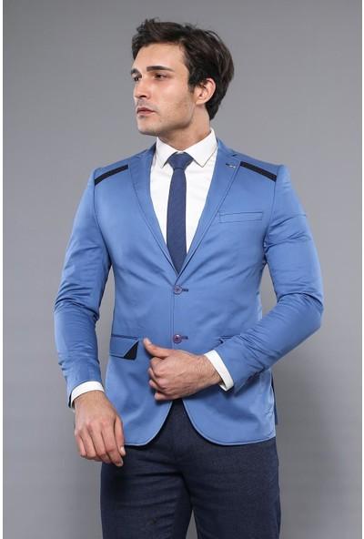 Wessi Omuz Parçalı Slim Fit Mavi Ceket