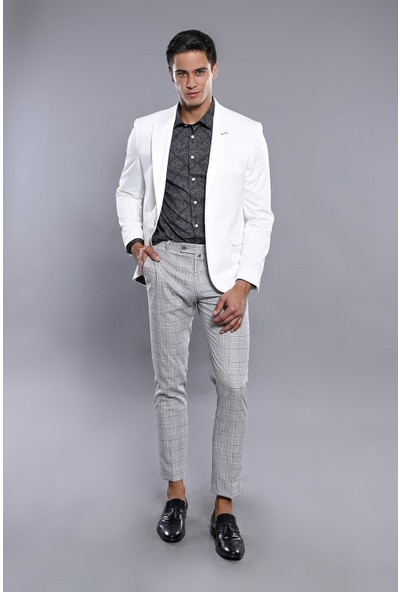 Wessi Penye Beyaz Slim Fit Ceket