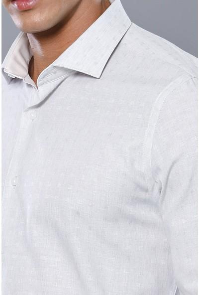 Wessi Kendinden Desenli Krem Uzun Kollu Gömlek