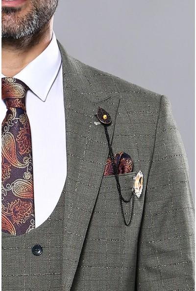 Wessi Ekose Desenli Haki Yelekli Takım Elbise