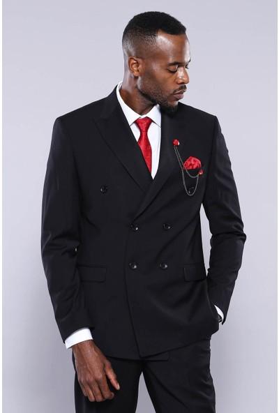 Wessi Kruvaze Siyah Slim Fit Takım Elbise