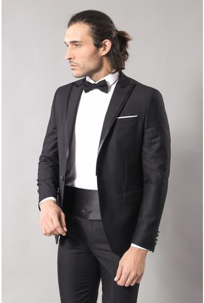 Wessi Siyah Slim Fit Damatlık Takım Elbise
