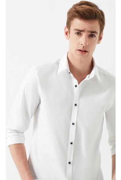 Mavi Erkek Beyaz Easy Iron Gömlek 021618-620