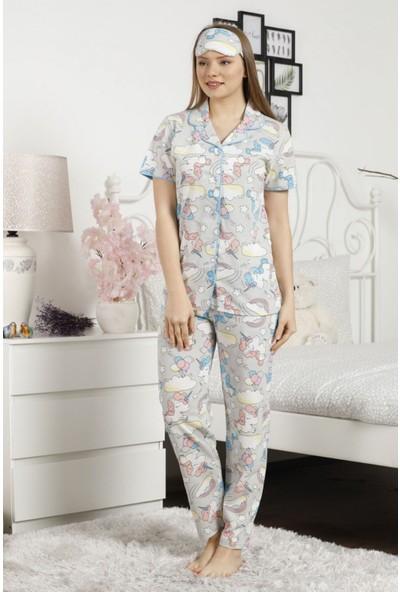 Pijama Evi Mavi Unicorn Desenli Önden Düğmeli Kısa Kollu Pijama Takımı