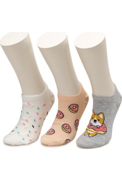 I Cool Donut 3 Lu Sneaker Ptk-G Gri Multi Kız Çocuk Çorap
