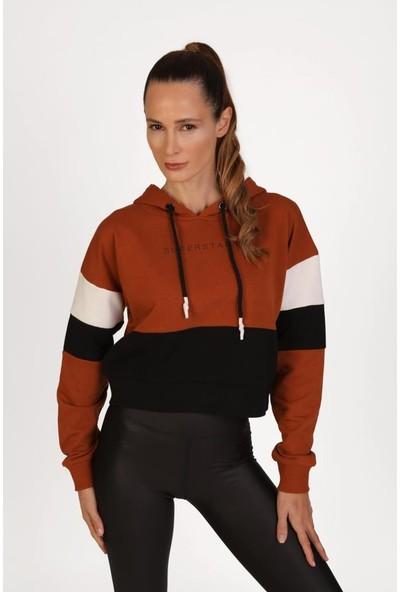 Superstacy Kapşonlu Kısa Spor Tarçın Sweatshirt L