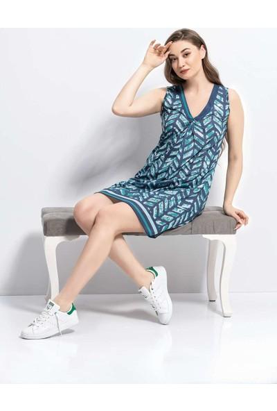 Viperia 5030 Kadın V Yaka Sıfır Kollu Elbise