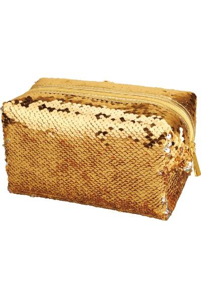 Pyrus Makyaj Çantası Pullu Altın