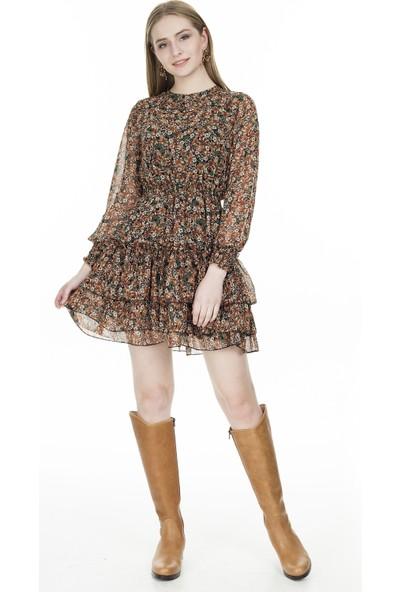 Lela Çiçek Desenli Şifon Elbise