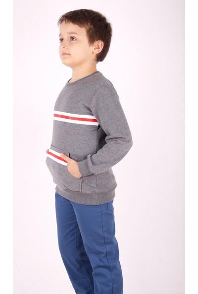 Toontoy Erkek Çocuk Çizgili Cepli Sweatshirt