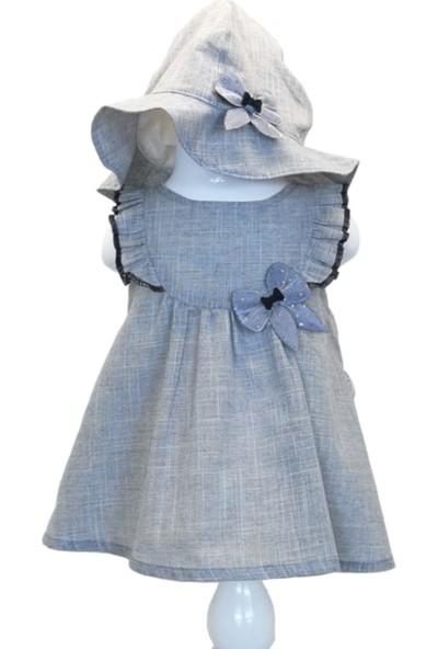 Capps Kız Bebek Elbise Şapka İkili Set Kurdele