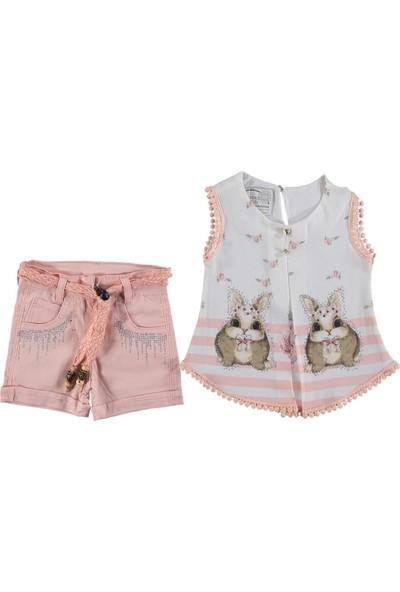 Baby Tavşanlı Pembe Şortlu Kız Takım