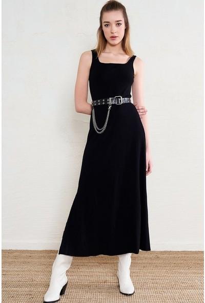Freestar Kadın Yırtmaçlı Fitilli Uzun Elbise