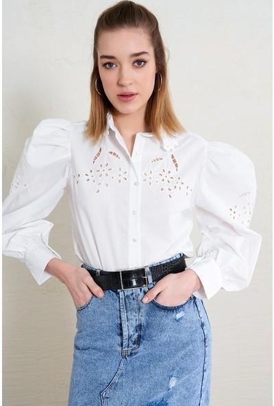 Freestar Kadın Dantel Yaka Balon Kol İşlemeli Gömlek