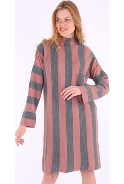 Bigdart 15617 Simli Link Yaka Triko Günlük Kadın Tunik Elbise