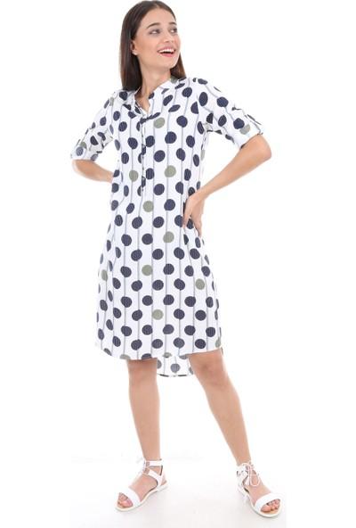 Bigdart 5692 Çıtçıt Kapama Desenli Günlük Kadın Tunik