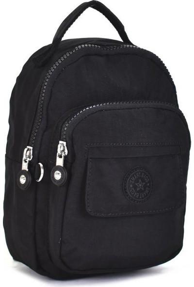 Smart Bags Krinkıl Kumaş Küçük Boy Siyah Kadın Sırt Çantası 3027