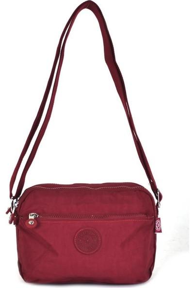 Smart Bags Krinkıl Kumaş Bordo Çapraz Çanta 3029
