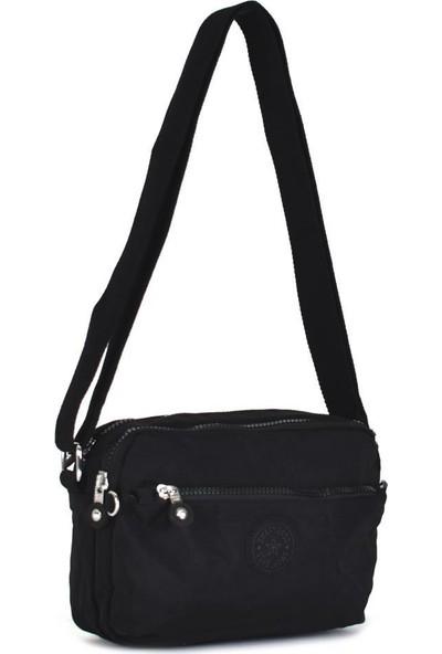 Smart Bags Krinkıl Kumaş Siyah Çapraz Çanta 3029