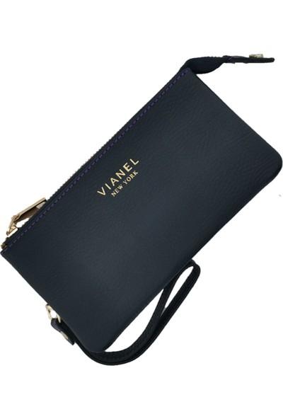 Vianel New York Verona Deri Siyah Bordo Mürdüm Kadın Cüzdan