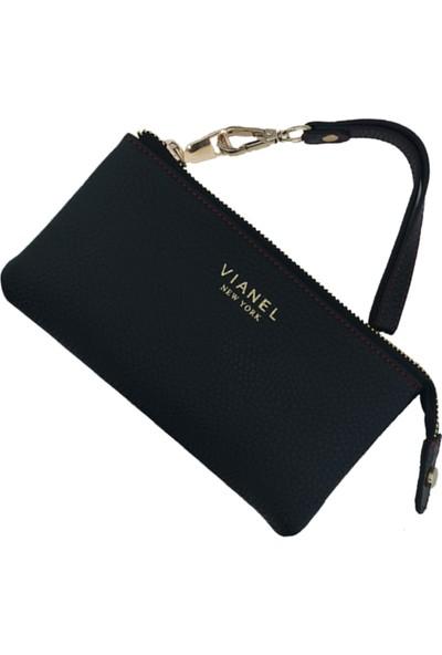 Vianel New York Verona Deri Siyah Mürdüm Kadın Cüzdan