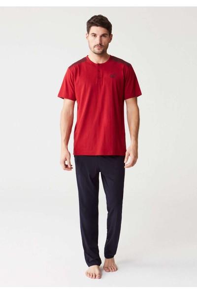 Mod Collection 3258 Üçlü Erkek Pijama Takımı - Bordo
