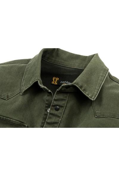 Serseri Jeans Haki Renk Çıt Çıt Düğmeli Çift Cep Kot Gömlek