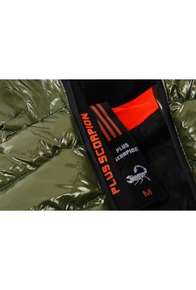 Plus Scorpion Haki Renk Parlak Kumaş Erkek Şişme Yelek