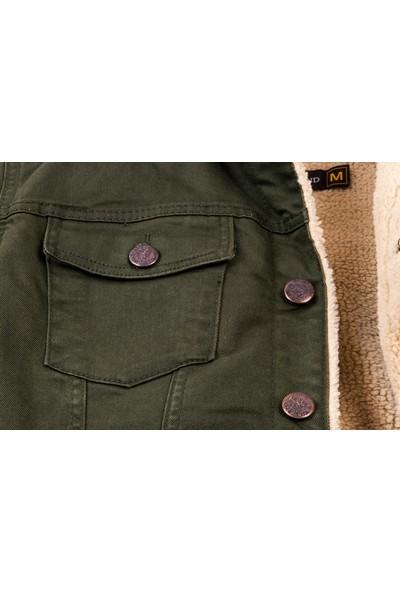 Serseri Jeans Haki Yeşil Düğmeli Kürklü Erkek Kot Mont