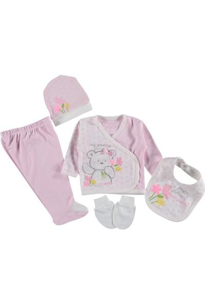 Miniworld 14532 Kız Bebek Hastane Çıkışı 5'li Zıbın Seti Pembe