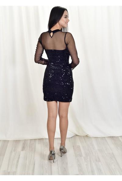 The Most Fashion Payetli Tül Detaylı Abiye Elbise 38