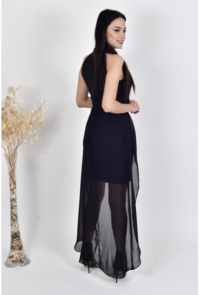 The Most Fashion Dantel ve Şifon Detaylı Elbise M