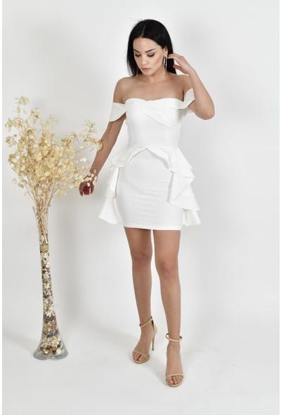 The Most Fashion Volanlı Prenses Yaka Elbise XL