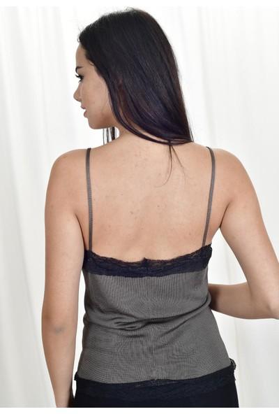 The Most Fashion Floş Dantel Detaylı Bluz S
