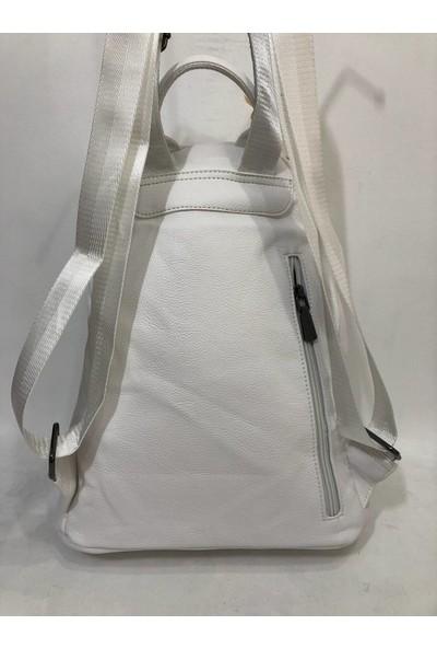 Elizabell Taşlı Kadın Sırt Çantası 35CM33CM Beyaz