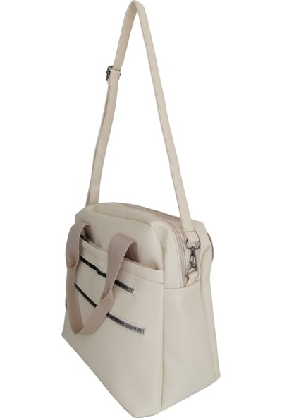 Rodinn Bag Krem Çift Fermuarlı El ve Omuz Çantası