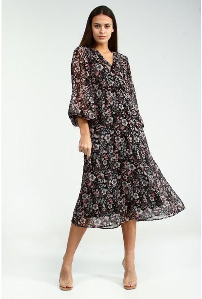 Collezione Kadın Siyah Regular Çicek Desenli V Yaka Elbise By Quzu