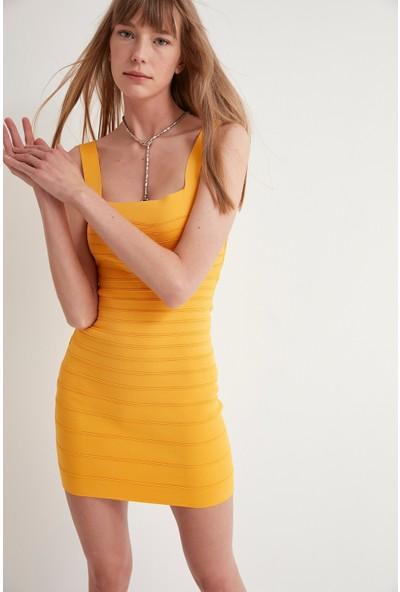 Join Us Çelik Örgü Kolsuz Triko Elbise