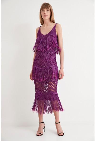 Join Us Astarlı Püsküllü Triko Elbise