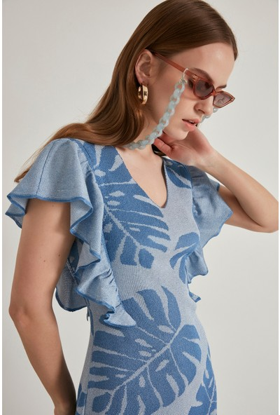 Join Us Yaprak Desenli Triko Elbise