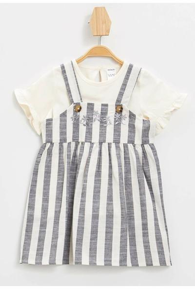 Defacto Kız Bebek Simli Nakış Baskılı T-shirt Elbise Set