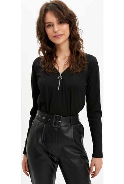 DeFacto Kadın Fermuar Detaylı Uzun Kollu T-Shirt