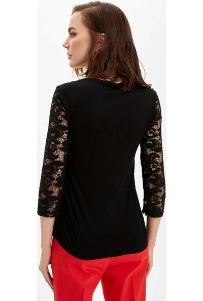 DeFacto Kadın Regular Fit Uzun Kollu T-Shirt