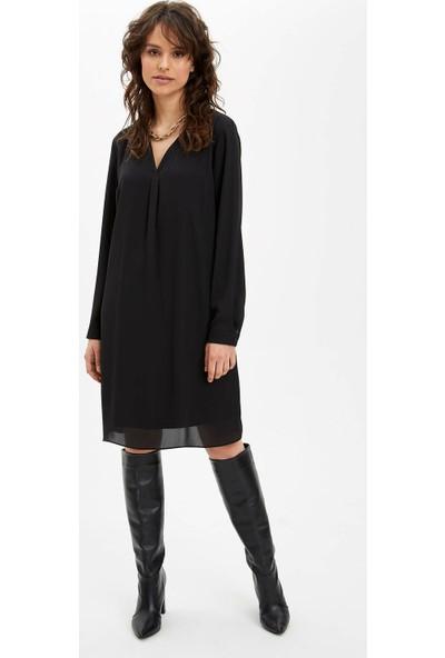 DeFacto Regular Fit Dokuma Elbise O0089AZ20SP