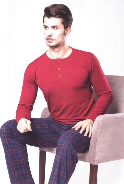 Aydoğan Pijama Takımı Erkek Modal Kumaş Pamuk Bordo